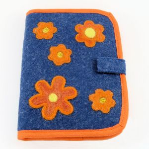 flower power - denim orange square