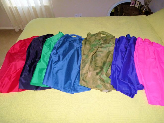 A pile of nearly completed luggage covers